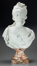 Ceramics & Porcelain, A Continental Bisque Porcelain Bust of Marie Antoinette. Marks: (Incised pseudo-Sèvres mark to underside). 31-1/2 inches hig... (Total: 2 Items)