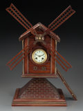 Timepieces:Clocks, A Continental Carved Wood and Brass Windmill-Form Clock, 19th century. Marks to movement: 52241, Paris (within horseshoe... (Total: 2 Items)