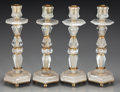 Decorative Arts, Continental:Lamps & Lighting, A Set of Four Baroque-Style Rock Crystal and Brass Candlesticks,20th century. 12 inches high (30.5 cm). ... (Total: 4 Items)