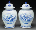 Asian:Chinese, Pair of Chinese Blue and White Porcelain Ginger Jars, late 20thcentury. 18 inches high (45.7 cm). ... (Total: 2 Items)