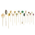 Estate Jewelry:Stick Pins and Hat Pins, Multi-Stone, Diamond, Seed Pearl, Glass, Plastic, Gold, Silver,Yellow Metal Stickpins. ... (Total: 17 Items)