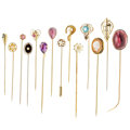 Estate Jewelry:Stick Pins and Hat Pins, Multi-Stone, Diamond, Cultured Pearl, Glass, Gold, Yellow MetalStickpins. ... (Total: 14 Items)