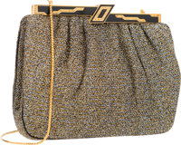 "Judith Leiber Metallic Gold & Silver Boucle Evening Bag Excellent Condition 8"" Width x 6.5"" Heigh"