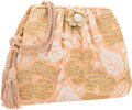 """Luxury Accessories:Bags, Judith Leiber Pink Satin & Metallic Gold Lace Evening Bag. Very Good Condition. 8"""" Width x 6"""" Height x 1.5"""" Depth. ..."""