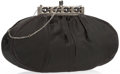 "Luxury Accessories:Accessories, Judith Leiber Black Satin Evening Bag with Silver Hardware. Goodto Very Good Condition. 9"" Width x 5"" Height x .5"" Depth,..."