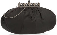 "Judith Leiber Black Satin Evening Bag with Silver Hardware Good to Very Good Condition 9"" Width x 5"" Height..."