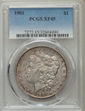 Morgan Dollars: , 1901 $1 XF45 PCGS. PCGS Population (484/4074). NGC Census: (357/4007). Mintage: 6,962,813. Numismedia Wsl. Price for proble...