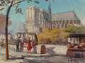 Fine Art - Painting, European:Modern  (1900 1949)  , Georges Gerbier (French, 1906-1983). Notre Dame and Booksellersalong the Seine, Paris. Oil on canvas. 7-1/2 x 9-1/2 inc...