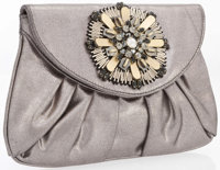 Judith Leiber Metallic Silver Canvas & Silver and Black Crystal Clutch Bag with Gunmetal Hardware Very Good Con...