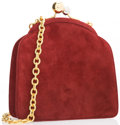 "Luxury Accessories:Accessories, Judith Leiber Red Suede Shoulder Bag with Gold Hardware. VeryGood Condition. 6"" Width x 6"" Height x 1.5"" Width, 19"" Shoul..."