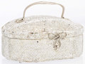"""Luxury Accessories:Accessories, Judith Leiber Full Bead Silver Crystal Evening Bag with SilverHardware. Good Condition. 7"""" Width x 2.5 Height x 2""""Depth..."""