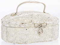 "Judith Leiber Full Bead Silver Crystal Evening Bag with Silver Hardware Good Condition 7"" Width x 2.5 Height"