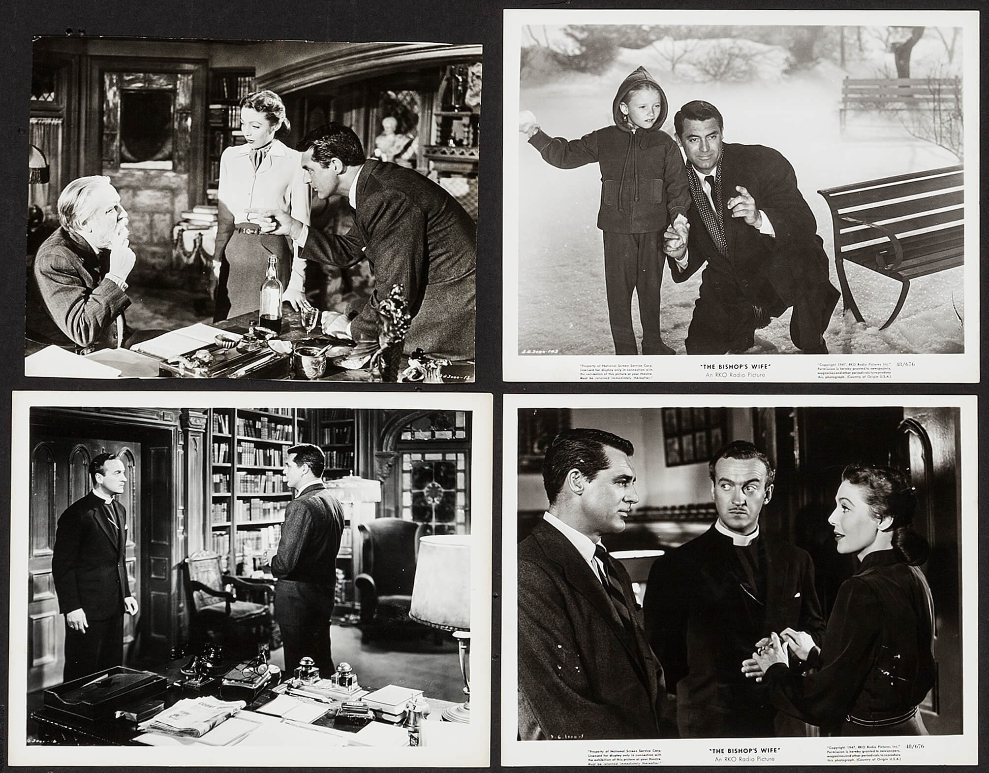 "The Bishop's Wife (RKO, 1948). Photos (3) (8"" X 10.25"") & Trimmed 