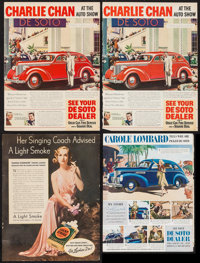 """Carole Lombard for Lucky Strikes & Others Lot (Luck Strike, 1937). Magazine Advertisements (4) (10"""" X 12.75, 10..."""