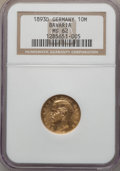 German States:Bavaria, German States: Bavaria. Otto gold 10 Mark 1893-D MS62 NGC,...