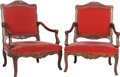 Furniture : French, A Pair of Louis XVI-Style Carved Walnut and Velvet UpholsteredFauteuils, late 19th century. 42-1/2 inches high x 31-1/2 inc...(Total: 2 Items)