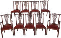 Furniture : Continental, A Set of Ten Chippendale-Style Upholstered Mahogany Dining Chairs,20th century. 42 inches high x 21-1/2 inches wide x 19 in...(Total: 10 Items)