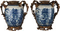 Asian:Chinese, A Pair of Chinese Blue & White Porcelain Vases with BronzeMounts, 20th century. 17 inches high (43.2 cm). ... (Total: 2Items)