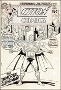 Original Comic Art:Covers, Curt Swan and Murphy Anderson Action Comics #385 Cover Original Art Plus Color Proof (DC, 1970).... (Total: 2 Items)