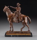 Sculpture, Continental School (19th Century). Napoleon on Horseback. Bronze with brown patina. 15-3/4 inches (40 cm) inches high on...