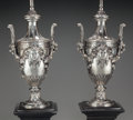 Lighting:Lamps, A Pair of Neoclassical Silvered and Enameled Metal Urn-Form Lamps, 20th century. 27 inches high (68.6 cm) (top of urn). PR... (Total: 2 Items)