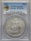 Trade Dollars, 1875 T$1 -- Cleaning -- PCGS Genuine Secure. XF Details. NGCCensus: (1/96). PCGS Population (3/114). Mintage: 218,200. Num...