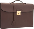 "Luxury Accessories:Bags, Hermes Chocolate Ardennes Leather Slim Briefcase Bag with GoldHardware. Very Good Condition. 15"" Width x 10.5""Height..."