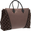 """Luxury Accessories:Bags, Louis Vuitton Brown & Black Leather and Tuffetage W Bag. Very Good to Excellent Condition. 15.5"""" Width x 10"""" Height x ..."""