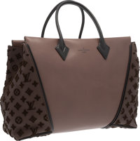 """Louis Vuitton Brown & Black Leather and Tuffetage W Bag Very Good to Excellent Condition 15.5"""" Wi"""