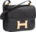 Luxury Accessories:Bags, Hermes 23cm Black Calf Box Leather Single Gusset Constance Bag withGold Hardware. T Circle, 1990. Very Good Condition...