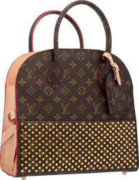 Louis Vuitton by Christian Louboutin Celebrating Monogram Collection Classic Monogram Canvas & Red Calf Hair Shoppin...