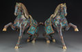 Asian:Chinese, A Pair of Chinese Cloisonné Horses, 20th Century. Marks: Saddlesincised 41. 15-3/4 inches high (40.0 cm) (tallest). ...(Total: 2 Items)
