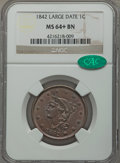 1842 1C Large Date, N-3, R.3, MS64+ Brown NGC. CAC....(PCGS# 407634)