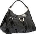 """Luxury Accessories:Bags, Gucci Black Patent Leather Shoulder Bag with Silver Hardware.Very Good Condition. 15"""" Width x 10"""" Height x 4""""Depth..."""