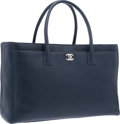 "Luxury Accessories:Bags, Chanel Navy Blue Leather Cerf Tote Bag with Silver Hardware. Excellent to Pristine Condition. 15.5"" Width x 10"" Height..."