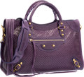"Luxury Accessories:Bags, Balenciaga Sapphire Purple Perforated Lambskin Leather Classic CityBag. Very Good Condition. 15"" Width x 9.5"" Height ..."