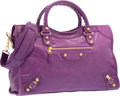 """Luxury Accessories:Bags, Balenciaga Ultraviolet Purple Lambskin Leather Giant Gold City Bag.Very Good Condition. 15"""" Width x 9.5"""" Height x 5.5..."""