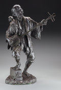 Sculpture, Japanese School (Late 19th Century). Shamisen Musician. Bronze with brown patina. 24 inches (61.0 cm) high. Inscribed wi...