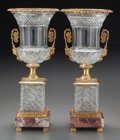 Decorative Arts, French:Other , A Pair of Baccarat-Style Cut Glass Urns with Bronze Mounts, 20thcentury. 18-1/4 inches high (46.4 cm). ... (Total: 2 Items)