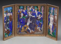 Ceramics & Porcelain, Continental:Other , A Limoges Enameled Triptych Depicting Three Scenes from theCrucifixion of Christ After Jean Pénicaud I, circa 1900. Marks: ...