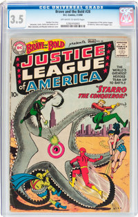 The Brave and the Bold #28 Justice League of America (DC, 1960) CGC VG- 3.5 Off-white to white pages