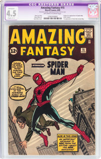 Amazing Fantasy #15 (Marvel, 1962) CGC Apparent VG+ Slight (C-1) 4.5 Off-white to white pages
