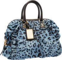 "Dolce & Gabbana Blue and Black Leopard Denim Miss Rouches Bag Excellent Condition 17"" Width x 11"""