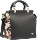 """Luxury Accessories:Bags, Givenchy Black & Floral Leather House de Givenchy Bag withSilver Hardware. Excellent Condition. 9.5"""" Width x 10""""Heig..."""