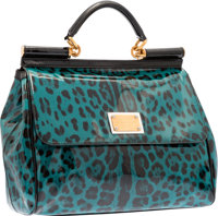 Dolce & Gabbana Teal & Black Leopard Patent Leather Miss Sicily Bag Very Good to Excellent Condition