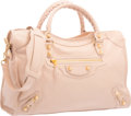 "Luxury Accessories:Bags, Balenciaga Bois de Rose Pink Lambskin Leather Gold City Bag.Very Good to Excellent Condition. 15"" Width x 9.5""Height..."