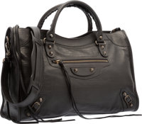Balenciaga Limited Edition Black Lizard Embossed Lambskin Leather Classic City Bag Excellent Condition<