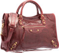 "Luxury Accessories:Bags, Balenciaga Bordeaux Red Perforated Lambskin Leather Classic CityBag. Good to Very Good Condition. 15"" Width x 9.5""He..."