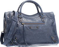"""Balenciaga Royal Blue Lambskin Leather Classic City Bag Excellent Condition 15"""" Width x 9.5"""" Heig"""