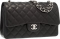 "Luxury Accessories:Bags, Chanel Black Quilted Lambskin Leather Jumbo Double Flap Bag withSilver Hardware. Excellent Condition. 12"" Width x 8""..."